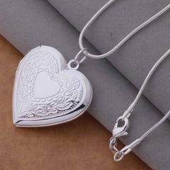silver photo frame Heart Pendant Necklace Fashion Jewelry classic Valentine's Day gift Top quality