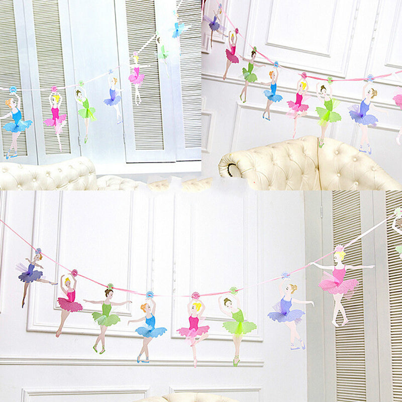 10Pcs / Pack Happy Family Baby Shower Ballet Girls Paper Flags Banner 3Meters តុបតែងពិធីជប់លៀងខួបកំណើតសម្រាប់កុមារ
