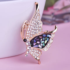 Crystal Butterfly Corsage Gold Insect Brooch