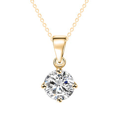 Silver and Gold Color Round Shape CZ Cubic Zirconia Pendant Necklace