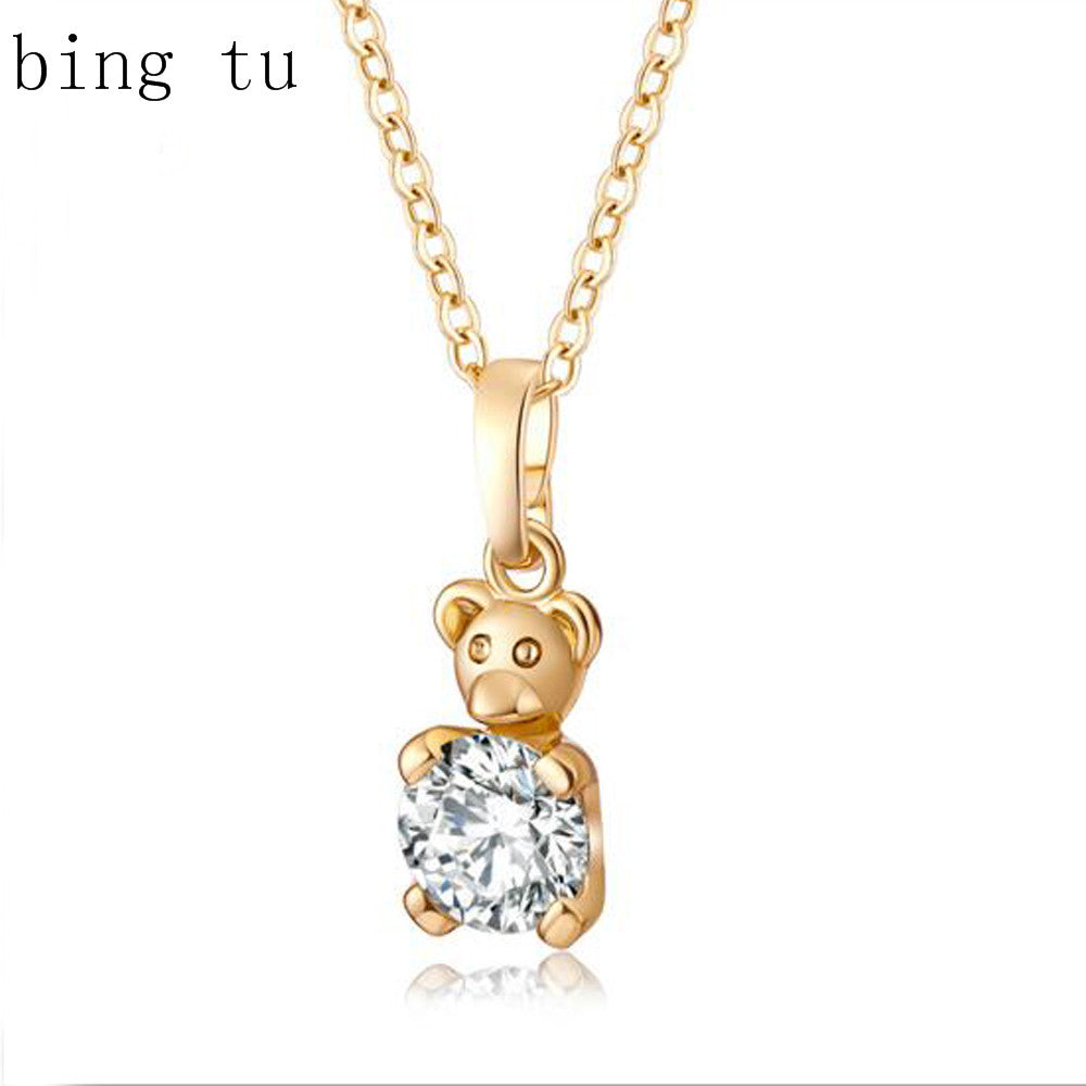 bijoux Lovely Gold Color Little Panda Design Pendants Necklaces Clear Cubic Zirconia Animal Jewelry