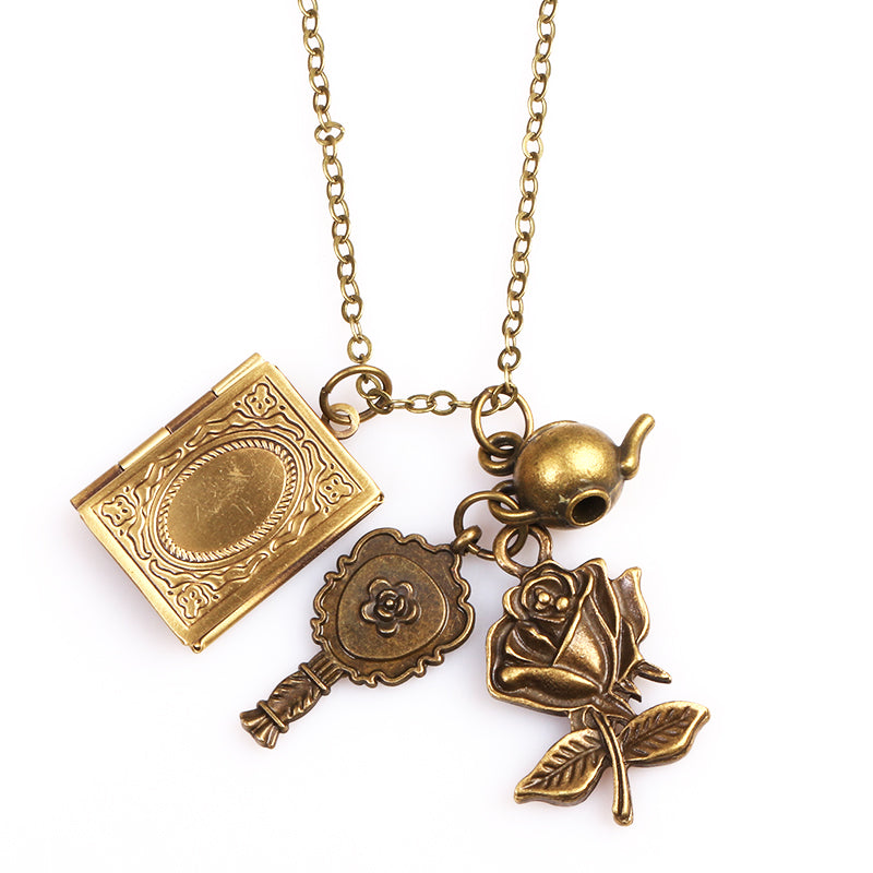 Beauty and the Beast Necklace Retro Phase Box Mirror Flower