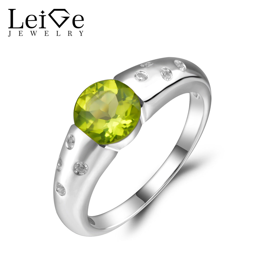 Ring Silver 925 Jewelry Natural Green Gemstone Round Cut