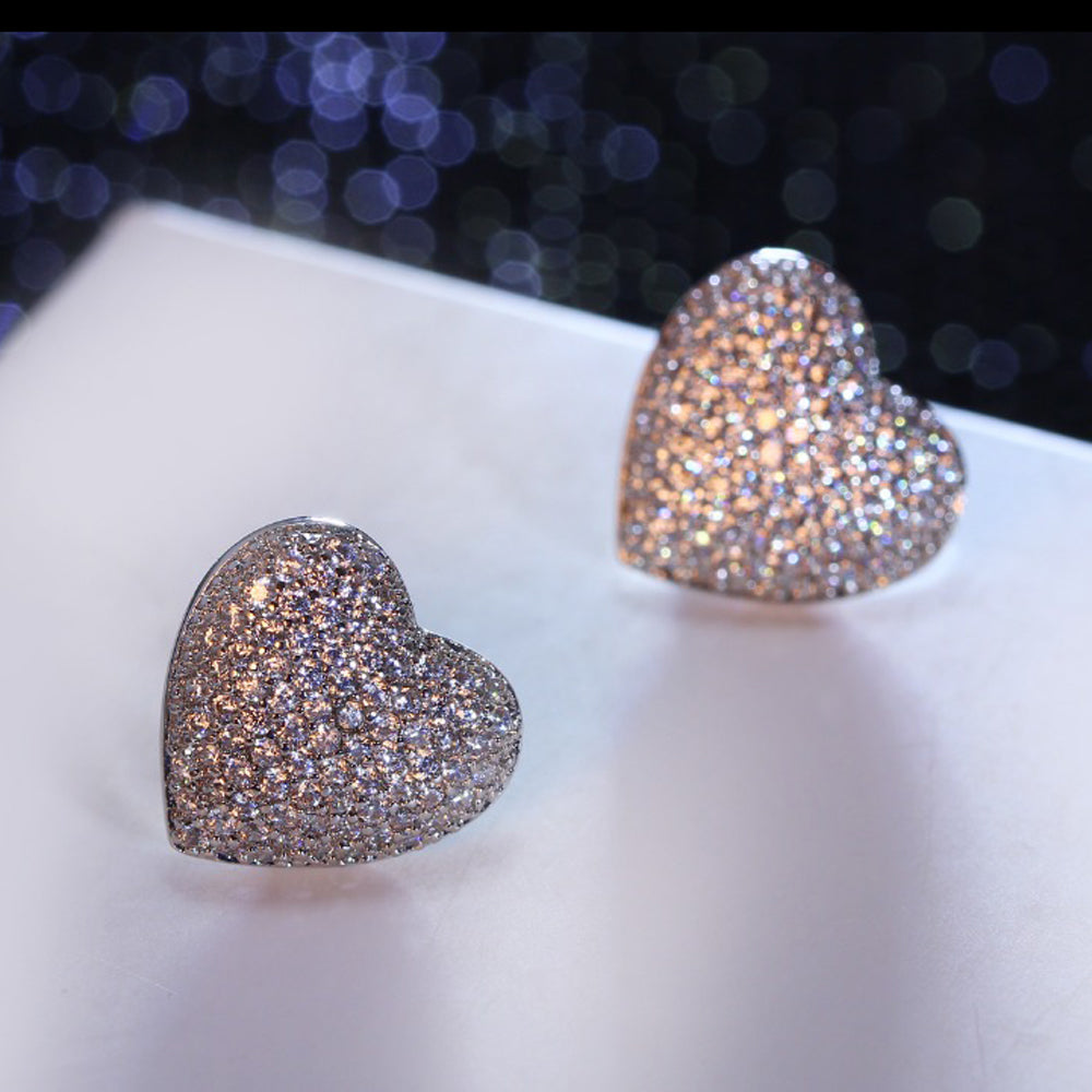 Cute and Romantic Love heart stud earings with AAA CZ crystal White gold color The best lover gift for her of earrings