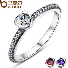 BAMOER 3 Warna Asli 100% 925 Sterling Silver Ring Love Heart Ring Original Wedding Jewelry PA7107