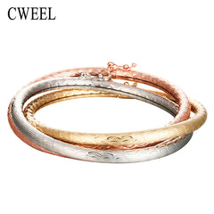CWEEL Valentines Gift Luxury Wedding Bracelets For Women Gold/Silver/Rose Color Bangles Wedding Bridal Gift Party Accessories