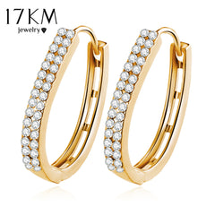 Anting-anting Stud Crystal Crystal Anting-anting Warna Emas Mewah