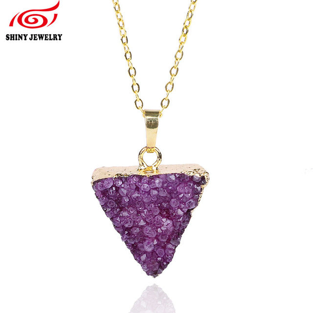 Valentine's Day Gift Raw Stone Pendant Necklace Women Female Gold Filed Traingle Natural Druzy Drusy Amethysts Necklace Jewelry