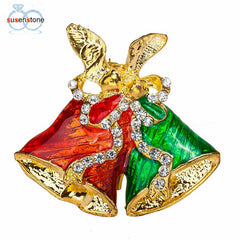 SUSENSTONE Fashion Chain Jewelry Christmas Bells Rhinestone Brooch Jewelry