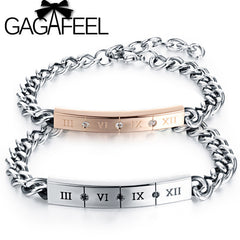 GAGAFEEL DIY Customized Name Bracelets For Women Men Roman Numeral Personalized Couple Bracelets Bangle Valentine Day Gift