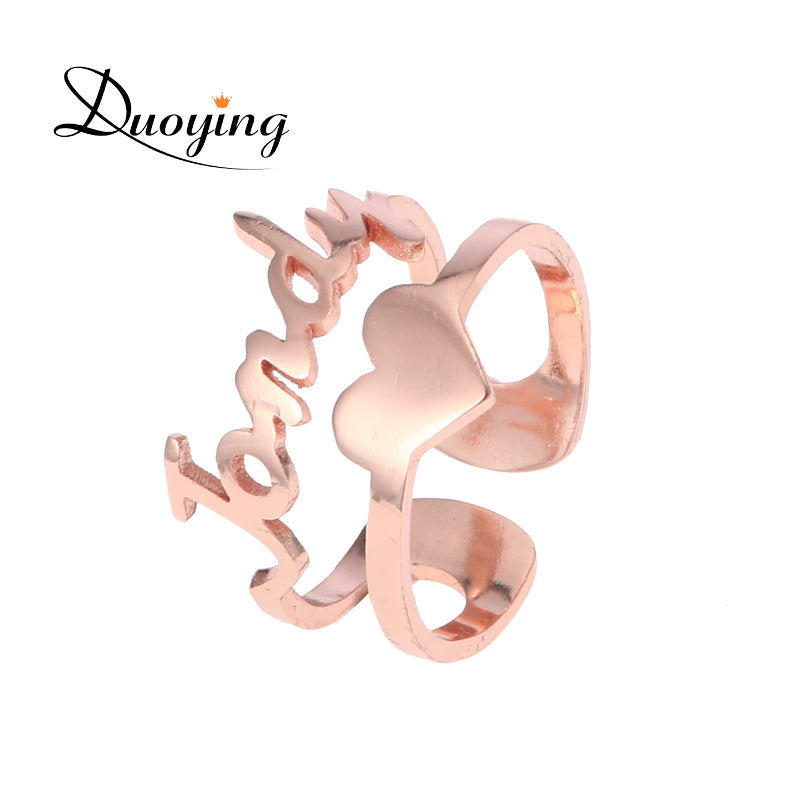 Duoying Cut Out Custom Name Ring with Heart for Etsy Rose Gold Tone Double Line Stacking Love Ring Personalized Valentines Gift