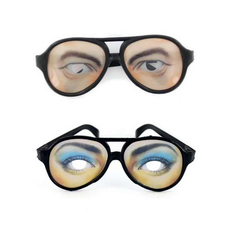 2Pcs Funny Joke Gag Oog Spectacle Glasses vir Funny Halloween Party