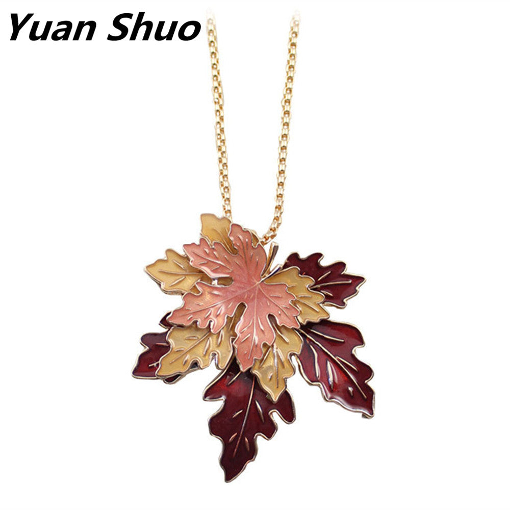Fashion necklace Beautiful maple enamel leaf plants long necklace sweater chain 2016 free shipping