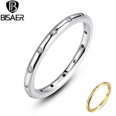 100% Authentic 925 Sterling Silver Stackable Ring 2 Color Droplets Finger Rings Clear