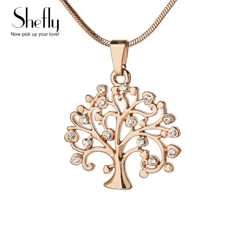 Tree Of Life zintzilikari lepokoa Emakumea Jewelry, Crystal Silver Rose Gold Kolorea