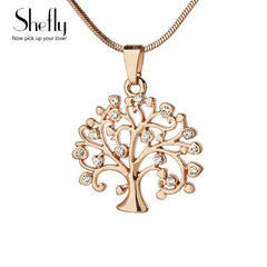 Tree Of Life Pendant Necklace Women Jewelry ,Crystal Silver Rose Gold Color