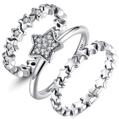 Sterling Silver Stackable Ring Sparking Star Rings