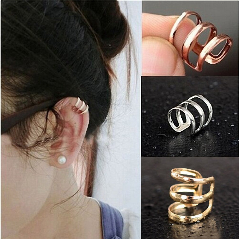 Color corrugated earrings (White Gold)