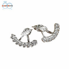 SUSENSTONE New Fashion Fashion Women Cute Gold Silver Silver Leaf Le Le Ear Ear Suncings Gift Jewelry Gift 1 ҷуфт