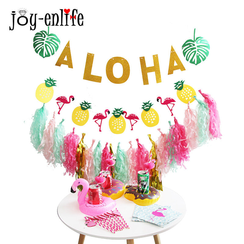 JOY-ENLIFE 1set ALOHA Strandpartytjie Banner Papierkwassies Garland Flamingo-bekerhouer Hawaiiaanse partytjie-versiering Hen-feestoerusting