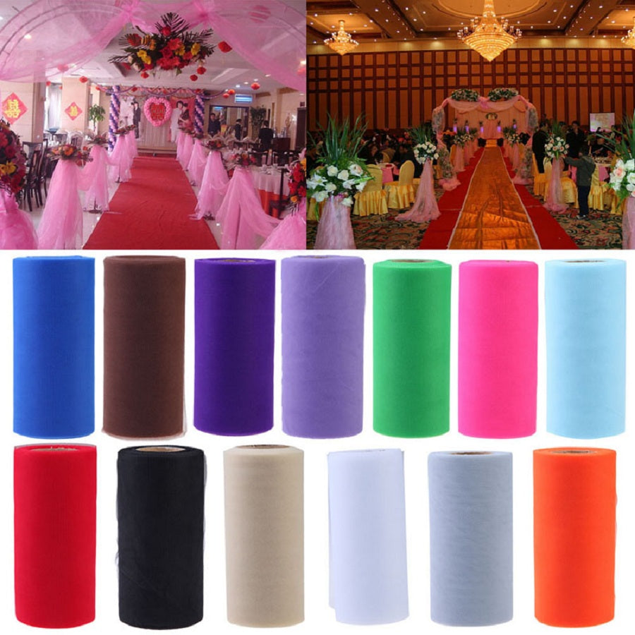Tissue Tulle Roll 15cm 26Yards Spool Tutu Gift Wrap Wedding, halloweenDecoration Festa di compleanno Baby Shower Supplies Bomboniere