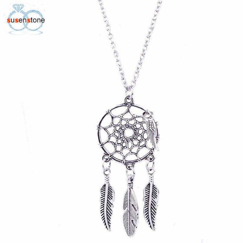 SUSENSTONE Mode-retro-juweliersware Dream Catcher-hangertjie-ketting