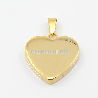 10pcs Golden Heart Pendants Valentines Gift for Him 304 Dur Di-staen Pendants 23x22x4mm, Hole: 3x6mm