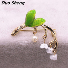 tree branch Imitation pearl girl collar pin brooch