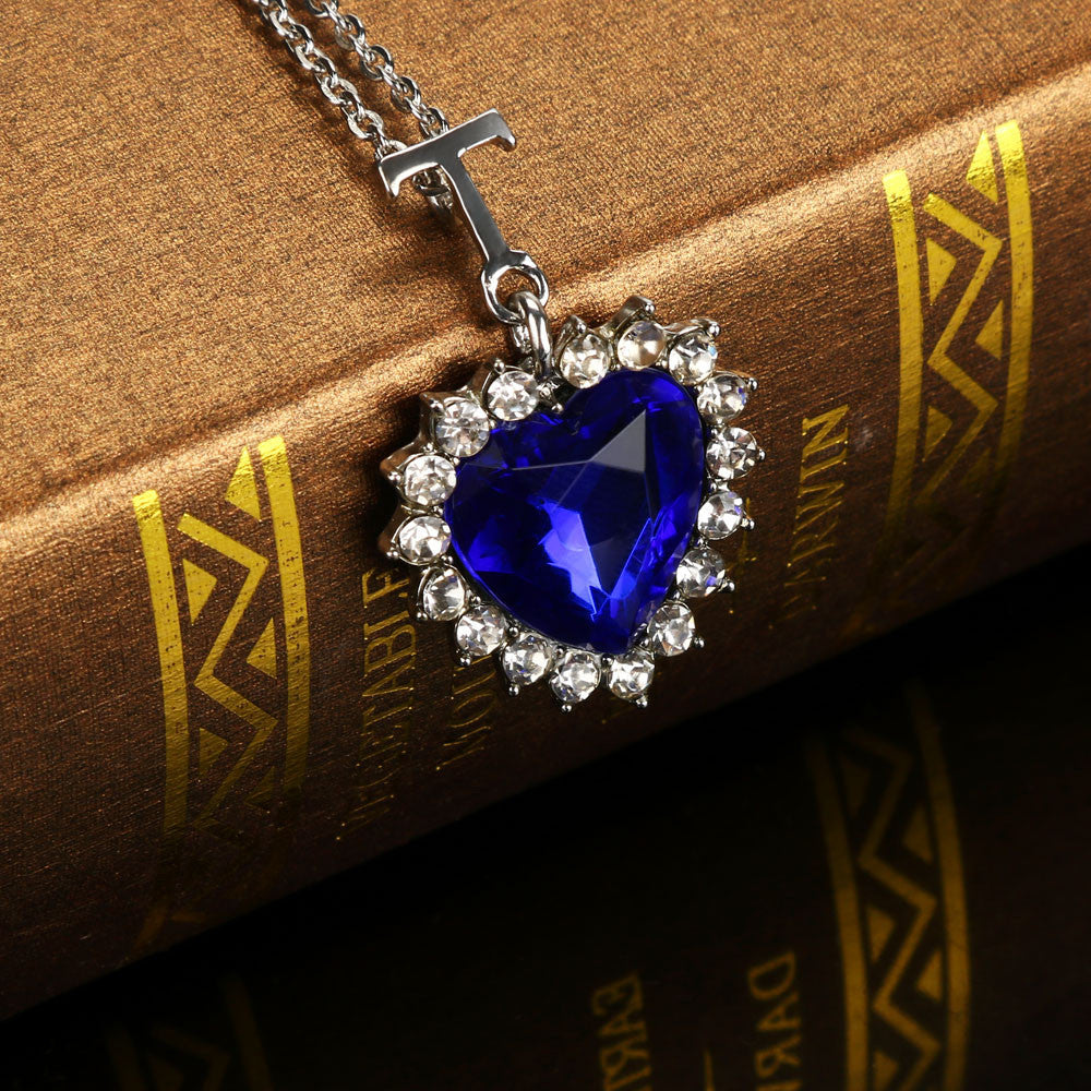 Boireannaich calltainn Lady Silver Heart of the Ocean Blue Sapphire Crystal Necklace