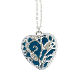 Magical Aqua Blue Heart Glow In The Dark Pendant Necklace
