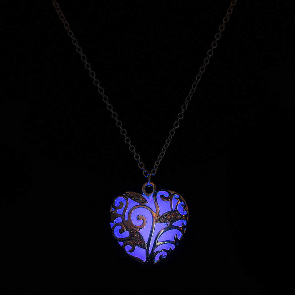 Magical Aqua Blue Heart Glow In The Dark Necklace Pendant
