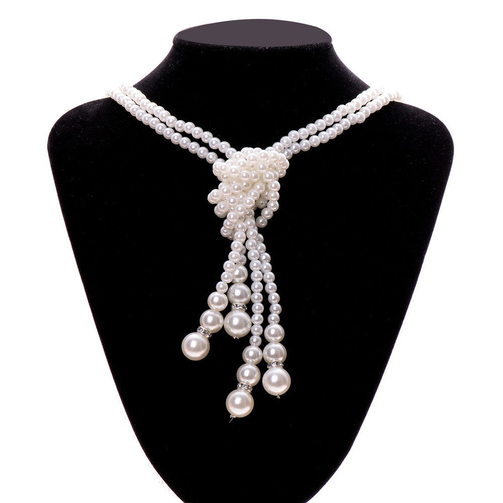 2pcs Women Multilayer Long Pearl Necklace Pendant Sweater Chain