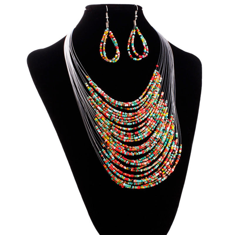 Bijouen Multicolor Multi-Layer Harz Perlen Kette an Ouerréng Set CO