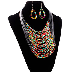 Jewelry Multicolor Multi-layer Resin Beads Necklaces and Earrings Set CO