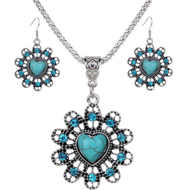 Flower Turquoise Pendant Chain Bib Necklace Earrings