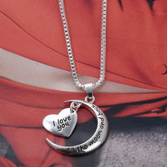 I Love You To The Moon & Back Necklace Pendant