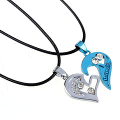 Du en unu I Love You Heart Pendant Koliero por Amantoj Couples