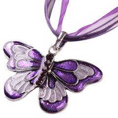 Vroue Fashion Jewelry Emalje Butterfly Crystal Silwer Hanger Ketting