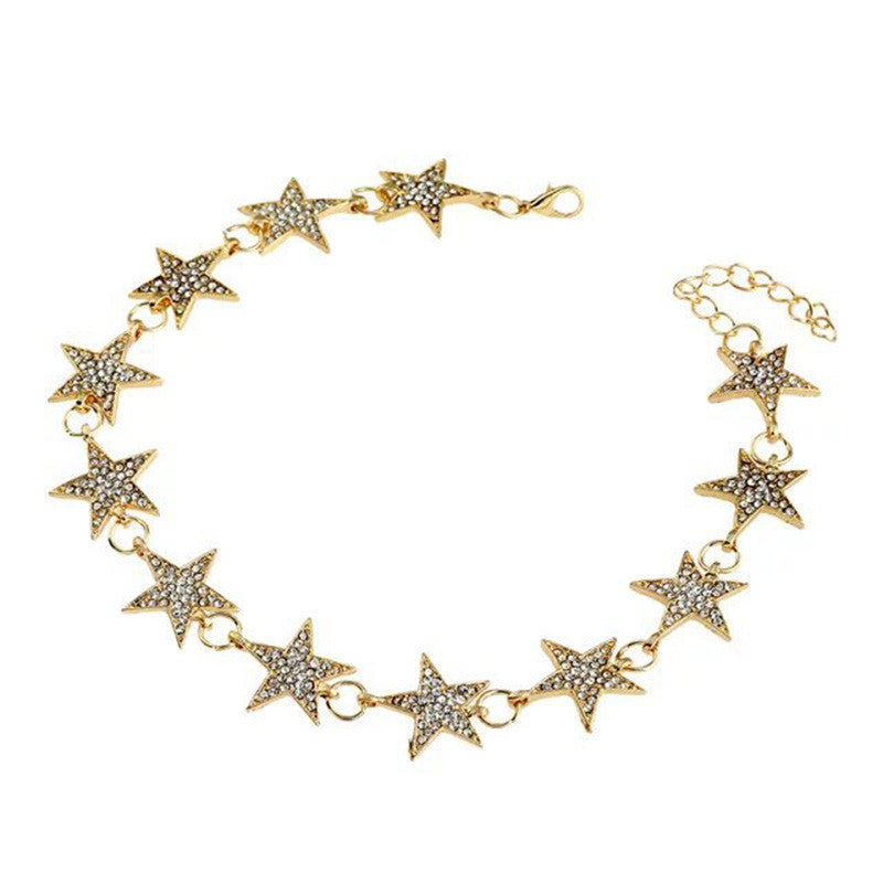 Women Stars Punk Alloy Style Alloy Crystal Rhinestone Golden Chain Necklace Choker
