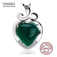 YANHUI Real Natural Stone Heart Pendant Necklace 925 Sterling Silver Jewelry for Women Romantic Necklace Gift of Valentines C063