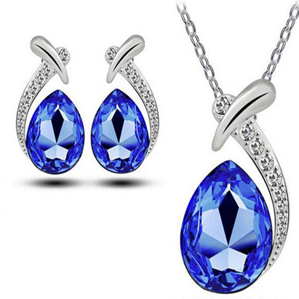 Women Crystal Pendant Silver Plated Chain Necklace Stud Earring Jewelry Set LB