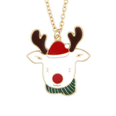 Gold Plated Red Crystal Santa Claus Reindeer Christmas Pendant Necklace Chain GD