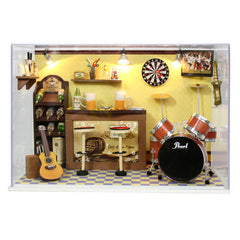 Handmade Miniatura Wooden Music Room Box Assemble Miniature Dollhouse DIY Doll House Boy Birthday Valentine Gifts - Green's Bar