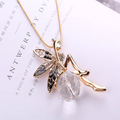 Cool  Lovely Angel Wings Butterfly Crystal Necklace Long Sweater Chain Jewelry