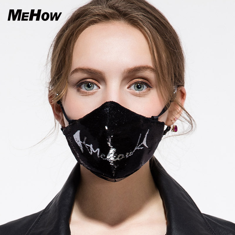 MeHow Unisex Soft Cotton Black Respirator Mask 95% Protection PM2.5 Anti Dust Fog Haze Pollen Nose Filter Face Mask Halloween