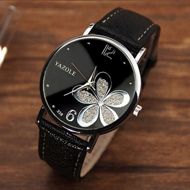 Dameshorlosies Flower Fashion Leather Analog Quartz Vogue Wrist Watch