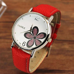 Wanita Jam Bunga Bunga Kulit Kulit Analog Quartz Vogue Wrist Watch