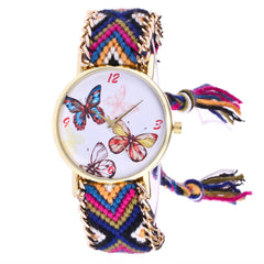Womentterfly Knitted Weaved Rope Band Bracelet Quartz Dial Wrist Watch