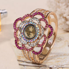 Womens Luxury Band Hollow Out Bangle Crystal Quartz Bracelet Watch