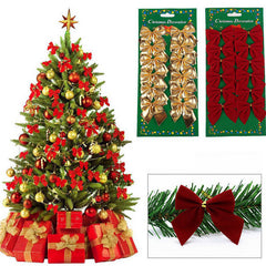 12 pcs/lot mini bowknot christmas ornaments